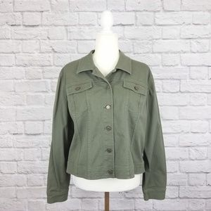 Style & Co. Petite olive green denim jacket